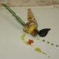 Spiedino di pesce spada gratinato ai pistacchi con disco di polenta
