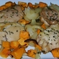 Maple and Thyme Roasted Chicken Thighs with Sweet Potatoes
