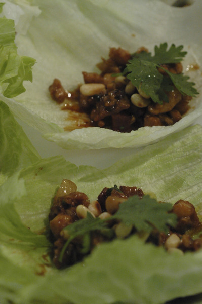 MINCED CHICKEN & LAP CHEUNG IN LETTUCE CUPS