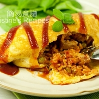 Omurice (Chicken and Tomato Rice wrapped in Fried Eggs)