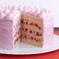 Strawberry Cake With Pink Meringue Buttercream Frosting