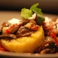 Polenta Medallions with Mushroom, Pancetta and Spicy Tomato Sauce