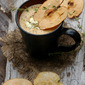 Roasted Apple and Sweet onion Soup with Cheese and Candied Apples