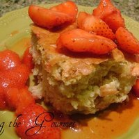 Buttermilk Pear Cake with Rum Soaked Strawberries