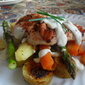 A Simple Supper of Chicken Breasts, with Roasted Vegetables and a Creamy Chive Sauce