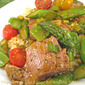 Lamb with Asparagus and Snow Peas on Large Couscous; we have walls! sort of