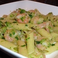 Penne with shrimp and zucchine