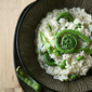 Spring is Sprung - Risotto with Fiddleheads, Favas and Snow Peas