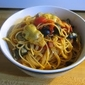 Spaghetti with Olives and Artichokes
