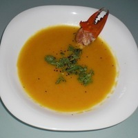 Creamy Pumpkin Soup with Crab Claw