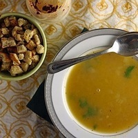 Moroccan Pea Soup with Za'atar Spiced Croutons