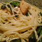 Broccoli Rabe with Spaghetti, Feta Cheese and Croutons