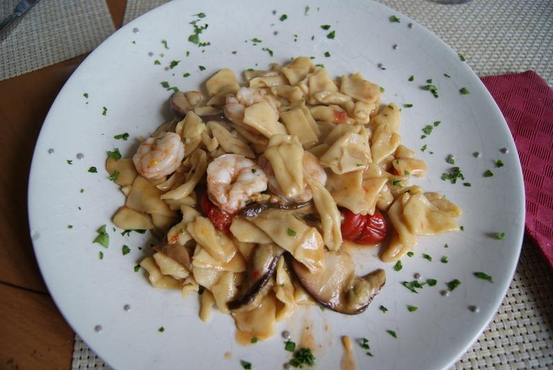 Maltagliati with Tomatoes, Porcini Mushrooms and Shrimp