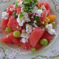 Fresh Fruit Salad with Feta and Basil