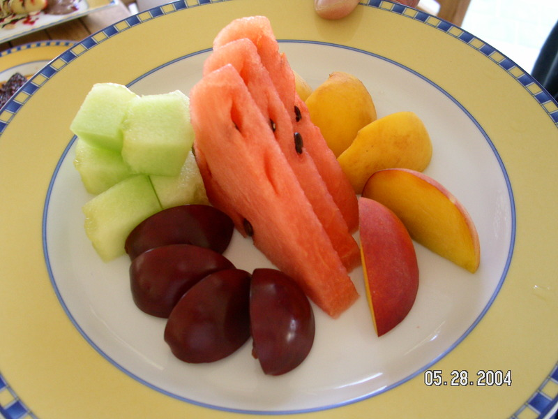 Side order of sliced fruit and watermelon