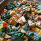 Eggplant Peppers And Spinach Oh My! A Mock Meat Dish Made For Meatless Monday.
