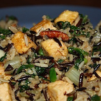 Asian rice with greens and pecans