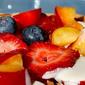Fruit waffles with vegan vanilla cream