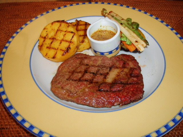 barbeque stake with butter onion