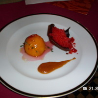 OVEN ROASTED APRICOTS WITH THYME, STRAWBERRY GRANITE, CACAO CROQUANT