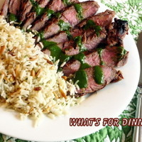 Asian Marinated Flank Steak with Almond Rice