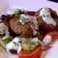 Barbecued lamb patties with tzatziki