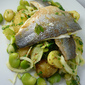 Sea Bass with Fennel , Broad Beans & New Potato Salad Dressed with Mint and Parsley
