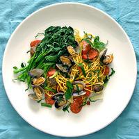 Default Pasta- Spicy Clams, Linguica Sausage, Chinese Broccoli & Pancit Noodles