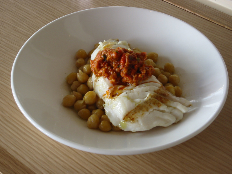 Sea Bass with Garbanzo Beans & Romesco