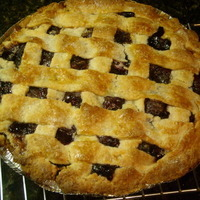 Cherry Blueberry Pie with lattice pie crust