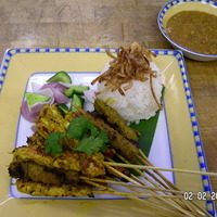 Spicy Beef ,Chicken and shrimp Satays with peanut sauce