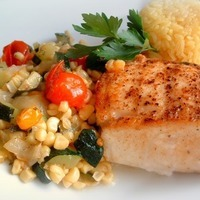 Pan Seared & Roasted Halibut, Summer Garden Succotash and Yellow Lemon Rice