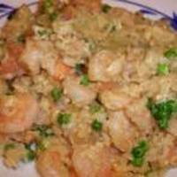 Wok fried rice with shrimps