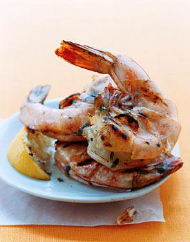 Large grilled prawns