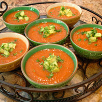 Summer Gazpacho Soup with Avocado-Lime Garnish.
