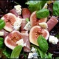 Fresh fig, gorgonzola and prosciutto salad with lemon-honey dressing