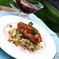 Kellogg's Crusted Baked Chicken with Pomegranate Reduction and Apricot Raisin Couscous