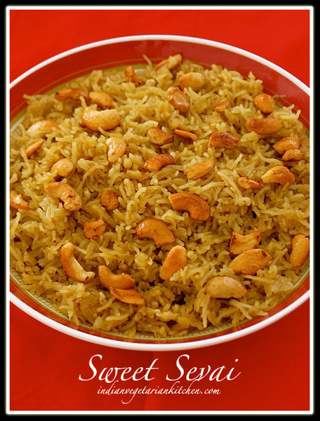 Sweet Sevai (Rice Noodles flavored with jaggery and ...