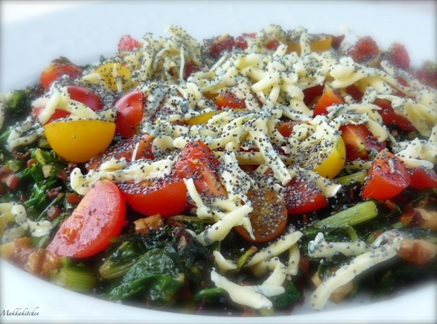 TOMATOES WITH POPPY SEEDS AND SWISS CHARD