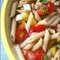 No-cook pasta sauce: Caprese Penne Pasta Salad