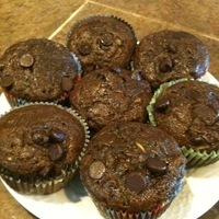 Low fat Double Choc. Chip Zucchini Muffins