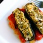 Quinoa Stuffed Eggplant with Marsala Tomatoes