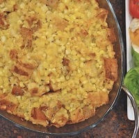 Fresh Corn and Asiago Cheese Bread Pudding