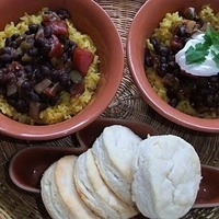 Black Beans with Saffron Rice
