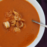 Roasted Tomato Soup w/ Grilled Cheese Garnish ...for PFB challenge #4