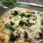 White Pizza with Mushrooms and Broccoli
