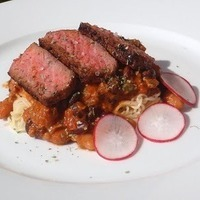 Ramen with Two Bean Ragout & NY Strip Steak