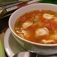 Tortellini and Vegetable Soup for a Rainy Day