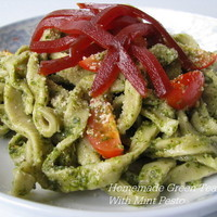 Homemade Green Tea Pasta With Mint Pesto