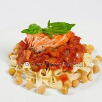 Salmon Pasta with Tomato Chickpea Sauce